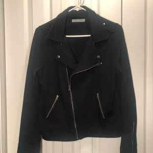 Black fleece lined moto jacket, size Large